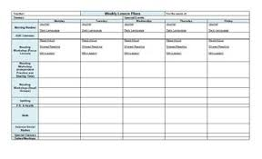 one page weekly lesson plan template horizontal by tpt