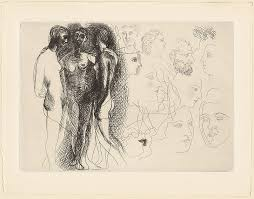three standing with sketches of faces plate nine from le