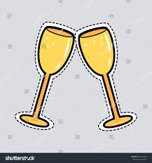 champagne glass cartoon illustration two clinking golden glasses cut stock illustration