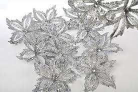 8 silver glitter hanging poinsettia ornament with