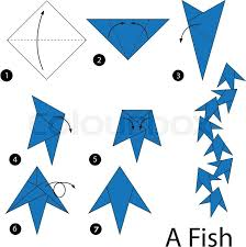 Step By Step Origami For - paper origami vector steps animal fish stock