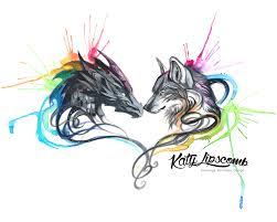 dragon and wolf splash ii day 162 8x10 print katy lipscomb
