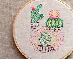 modern embroidery patterns cactus embroidery plant