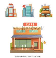 House Flat Design Flat Design Retro Modern City Houses Stock Vector 586294715