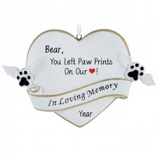 paw prints on our pet memorial ornament personalized