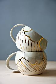 large tea cup white and gold porcelain cups handmade ceramic
