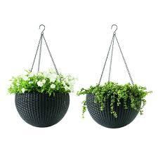 hanging planter basket keter 13 8 in dia brown resin hanging rattan planter 2 pack