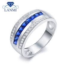 sapphire wedding rings images Solid 14kt white gold men band natural blue sapphire diamond jpg
