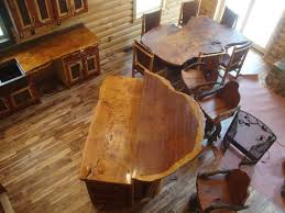 rustic wood countertops for island and varnished wooden stools