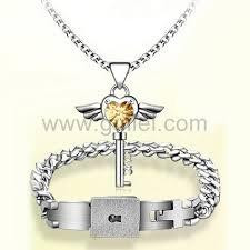 customized necklace real lock and key customized bracelet necklace christmas gift