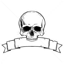 skull ribbon black and white human skull with ribbon banner vector illustration