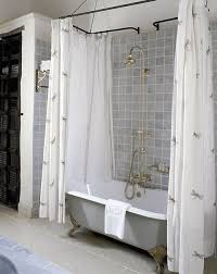 bathroom finding clawfoot shower curtains wrap around curtain rod