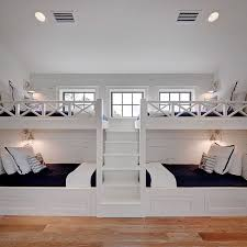 White Built In Bunk Beds With Navy Bedding Cottage Boys Room - Navy bunk beds