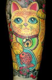 tattoo cat neko beautiful detail in this waving cat tattoo by amy duncan vic