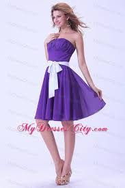 purple dresses for weddings knee length purple chiffon knee length bridesmaid dress with white sash