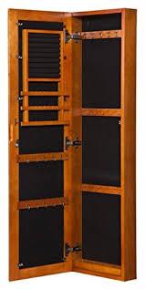 Jewelry Storage Cabinet Oak Wooden Mirrored Jewelry Cabinet Armoire Wall Mount Storage