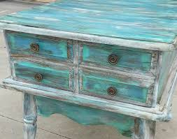 distressed white side table red over black distressed furniture white blue turquoise