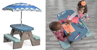 step 2 folding picnic table kohl s kids picnic table set w umbrella disney c chair only