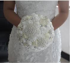 silk bridal bouquets 2018 handmade top quality beaded pearl silk bridal wedding bouquet