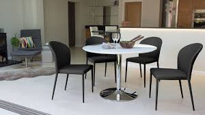 White Gloss Pedestal Dining Set Faux Leather Chairs UK - Black and white dining table with chairs