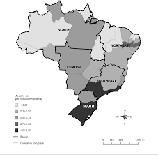Brazil Map States by Mortality Related To Tuberculosis Hiv Aids Co Infection In Brazil