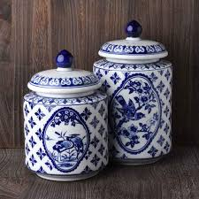 set of 2 blue and white porcelain canisters lisa robertson home set of 2 blue and white porcelain canisters