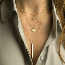 rose gold silver necklace images Set 940 layering necklaces gold silver or rose dainty jpg