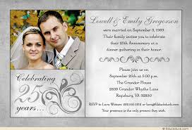 fashionable best 25th anniversary invitation cards silver wedding
