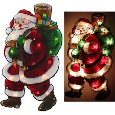 Christmas Window Decorations Indoor by Christmas Window Lights Santa Double Sided Silhouette Indoor