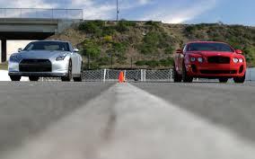 nissan gtr vs nissan gt r vs bentley continental supersports drag race motor