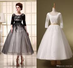 tea length wedding gowns discount 2015 cheap a line wedding dresses ivory black half sleeve
