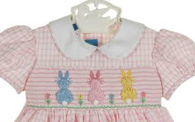 anavini pink checked smocked dress with pastel bunnies pink