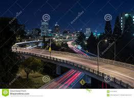 Portland Oregon Traffic Map by Long Exposure Of Night Traffic In Portland Oregon Stock Photo