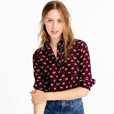 popover blouse popover shirt in terrier print button ups j crew