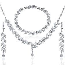 platinum necklace set images Buy crystal african jewelry set for women wedding engagement jpg