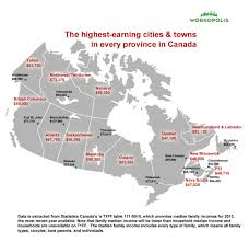 Map Canada Provinces by Infographic The Places Where Canadians Are Making The Most Money