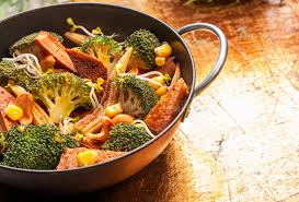 wok cuisine cuisine with seasonal vegetables in a wok stock photo image