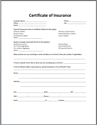 certificate of insurance template best business template