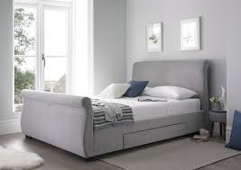 Grey Sleigh Bed Upholstered Sleigh Bed Steel Grey Upholstered Beds Beds