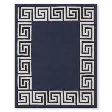 greek key border indoor outdoor rug navy williams sonoma