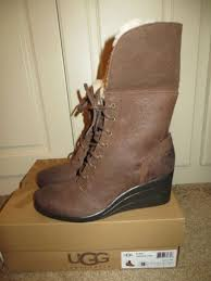 s ugg australia brown zea boots ugg zea chocolate brown leather waterproof wedge cuff ankle boots