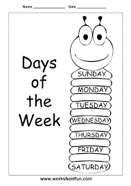 insects worksheets free days of the week trace and write