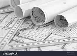 rolls architecture blueprint house plane metric stock photo