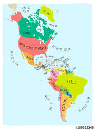 states canada map vector map of the americas colorful style