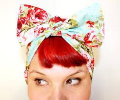 bandana bow vintage inspired scarf bow or bandanna style powder blue