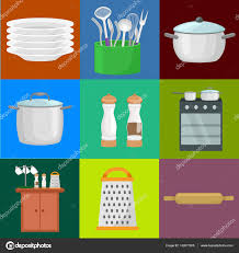 food and cooking banner set with kitchenware utensils kitchen of