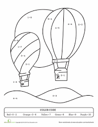 color by sum air balloon worksheets air balloons and