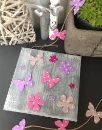 d馗oration papillon chambre fille cadre gris patiné papillons en et parme décoration
