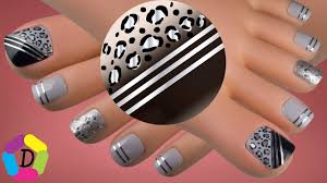 animal print with decorative tape easy toe nail design youtube