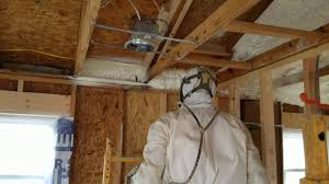 spraying open cell foam insulation in an attic youtube